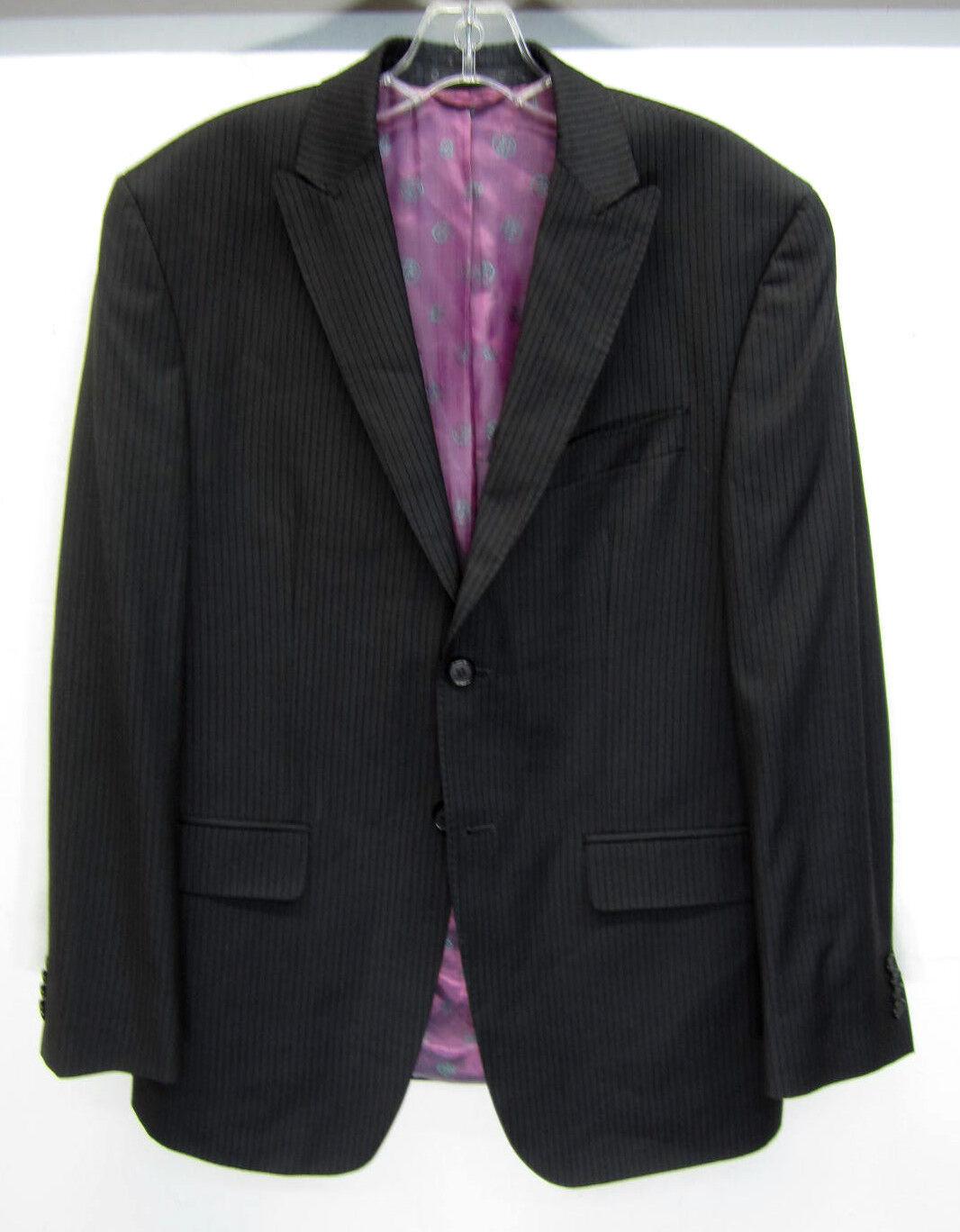Sean John Blazer Sport Coat charcoal grau textuROT vtg pinstripe sz 38R EUC