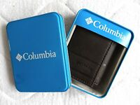 Columbia Brown Leather Tri-fold Wallet Notes Cards Id Window In Metal Box
