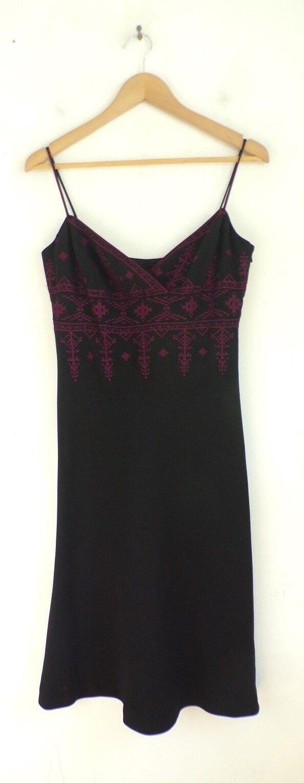 JONES NEW YORK Woherren Dress Größe 6 schwarz & Rosa Embroiderot Sleeveless Summer