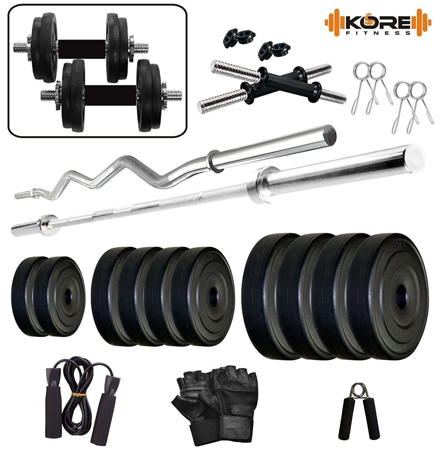 Kore K8kg Combo 2WBSL Dumbbell Rods Comes with Gym Accessories For BodyBuilder