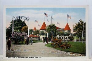 Indiana-IN-Fort-Wayne-Robison-Park-Entrance-Postcard-Old-Vintage-Card-View-Post