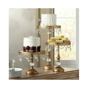 3 Tiered Gold Cake Stands Cupcake Tiers Vintage Riser