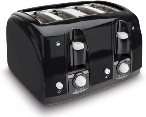 Black 4-Slice Wide Slot 7-Settings Bread/Bagel Toaster with Removable Crumb Tray