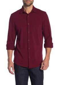 14th-amp-Union-Men-039-s-Knit-Button-Front-Shirt-Burgundy-Royale-size-Large