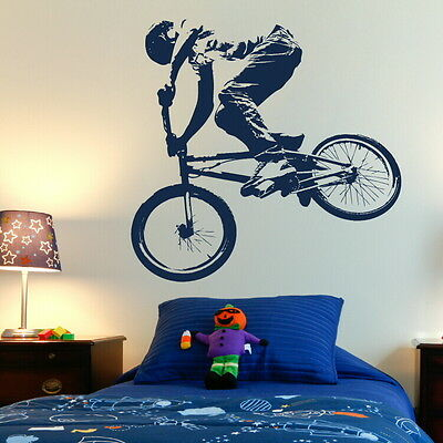 BMX PUSH BIKE pushbike boys bedroom Wall art Stickers kids childrens decals n35