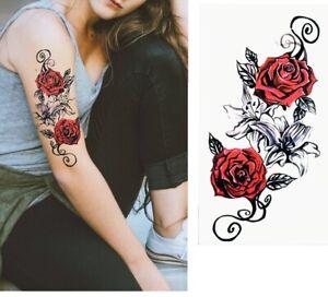 Blume-Einmal-Tattoos-Blumen-rose-Temporaere-Tattoo-Body-Sticker-21x11cm