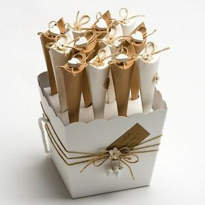 Image Is Loading Confetti Cone Tray Powder White Vase Box Wedding