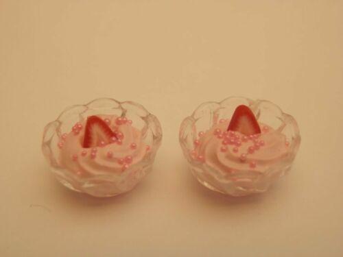 fuentes de plástico de Whippy mousse de Fresa para dos-por Fran Casa De Muñecas alimentos