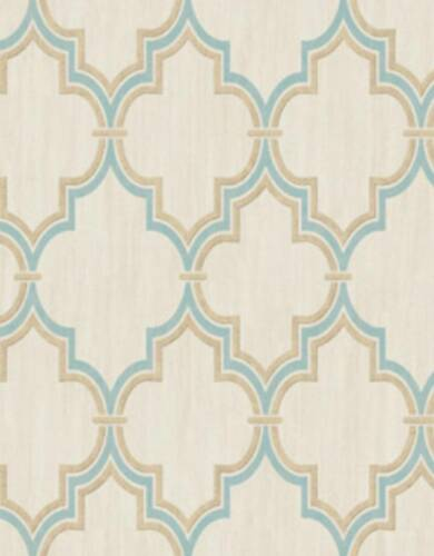 Wallpaper Aqua /& Metallic Gold Moroccan Trellis Lattice on Faux Cream Linen