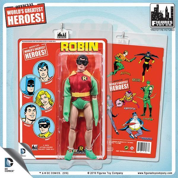 Dc comics 8 - zoll - retro - robin abbildung retro - stil einer maske neue karte