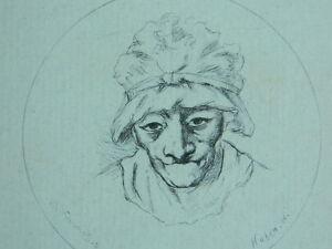 S.XIX Antigua Grabado Voltaire Paciente Retrato Vista Redondo Huben Hanriot C .