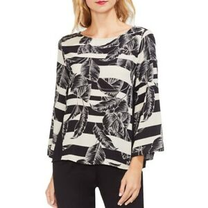 VINCE-CAMUTO-Women-039-s-Leaves-Printed-Striped-Blouse-Shirt-Top-TEDO