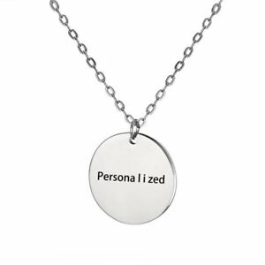 round stainless steel personalized engraved custom name pendant