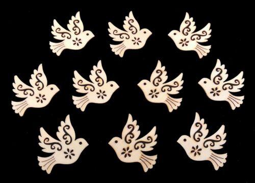 Fiel a madera piezas pájaros palomas 10 unidades holzdeko