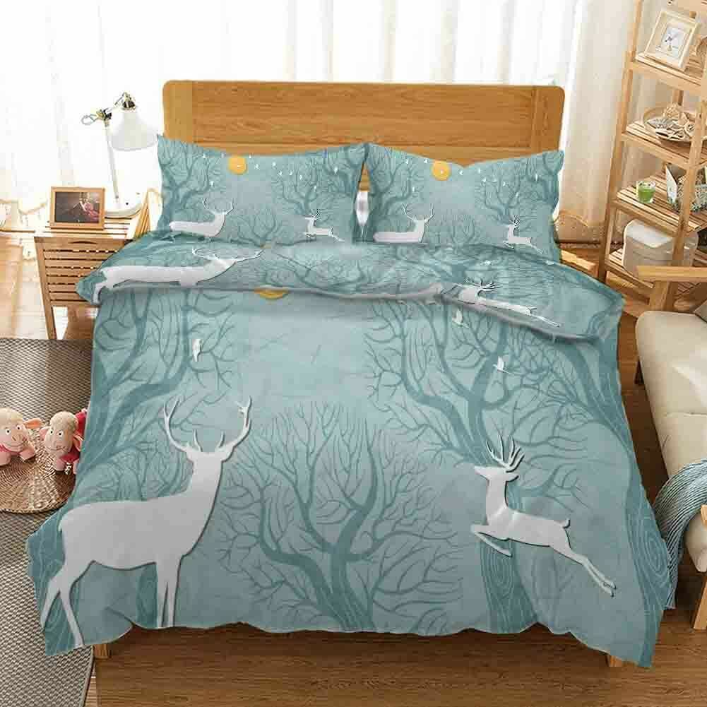 Blau Jumping Deer 3D Printing Duvet Quilt Doona Covers Pillow Case Christmas
