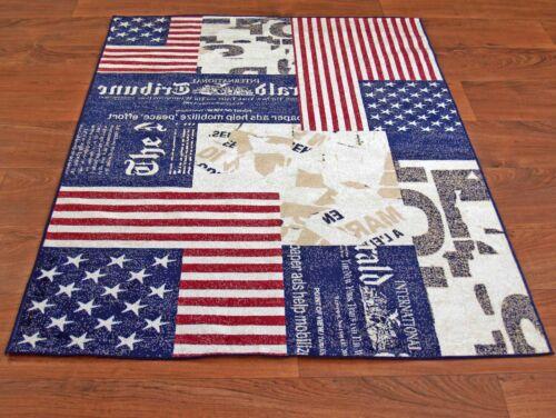 Teppich USA Amerika U.S.A Edles Modernes Design 3Größen 67x135 80x150 160x220cm
