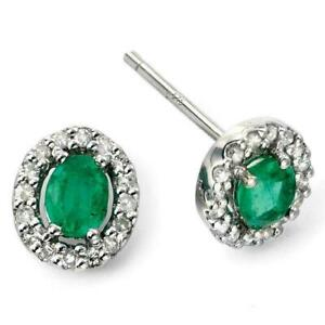 9ct White Gold Emerald and Diamond Earrings GE943G