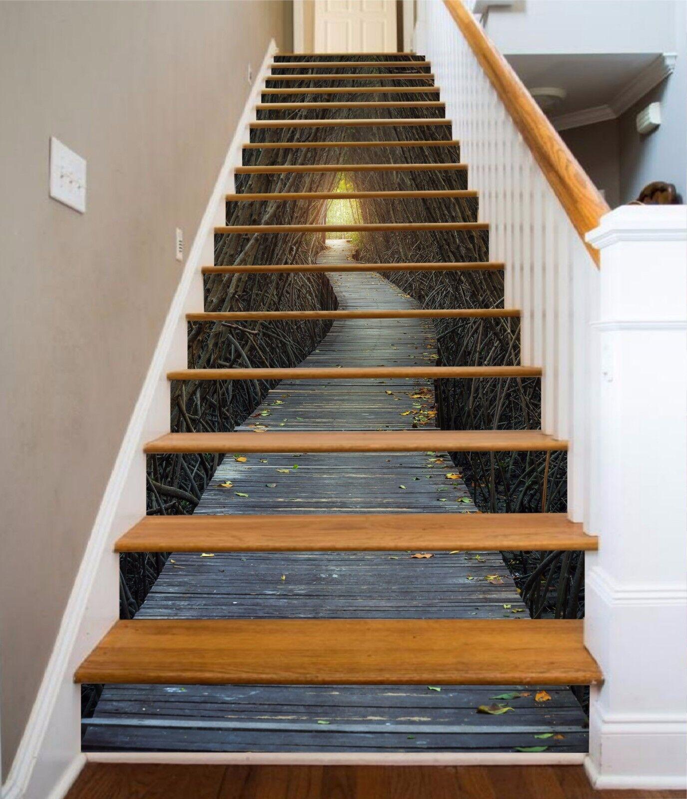 3D en Bois Route 002 escaliers contremarches Décoration Photo Murale Autocollant Vinyle Papier Peint US