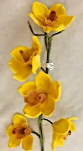 Hobby Lobby Yellow 38 Orchid Silk Flower Without Vase Ebay