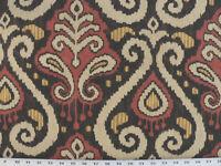 Drapery Upholstery Fabric 100% Cotton Duck Ikat - Black, Rust, Yellow, Beige