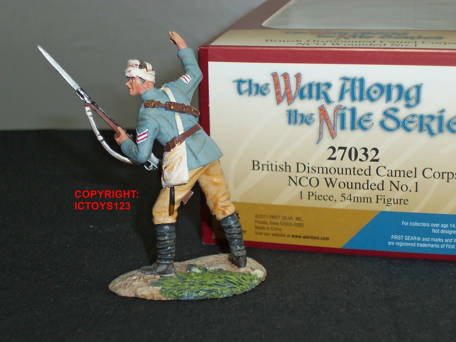 BRITAINS 27032 BRITISH CAMEL CORPS NCO WOUNDED METAL TOY SOLDIER FIGURE