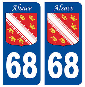 68 Haut-rhin Alsace Departement Immatriculation 2 X Autocollants Sticker Auto Badges, Insignes, Mascottes