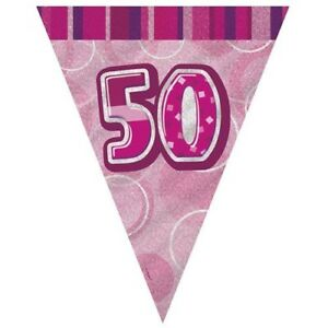 Details About Pink Glitz 50 Flag Banner 12 Ft String Flags 50th Birthday Party Decorations