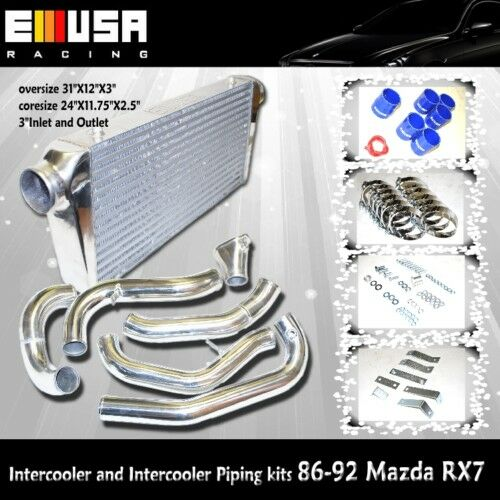 Intercooler /& Kits FMIC intercooler tuberías para 1986-1992 Mazda RX /& RX-7 FC3S