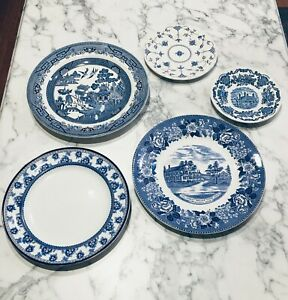 5 Mix Match Curated English Blue White Transferware Plates Tableware Wall Ebay