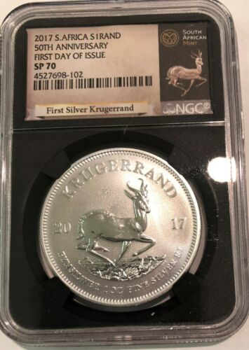 2017 S Africa 50th Anniversary Silver Krugerrand NGC SP 70 First Day of Issue