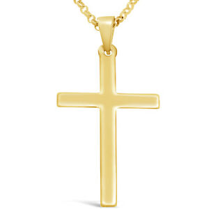 Large mens 9ct gold cross pendant necklace with 20 gold chain ebay la imagen se est cargando grande para hombre de 9 quilates de oro aloadofball Images