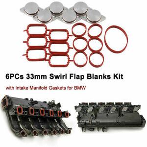 Swirl Flap Blanks Black 633mm Car Intake Diesel Swirl Flap Blanks Repair Kit with Manifold Gaskets Compatible with BMW