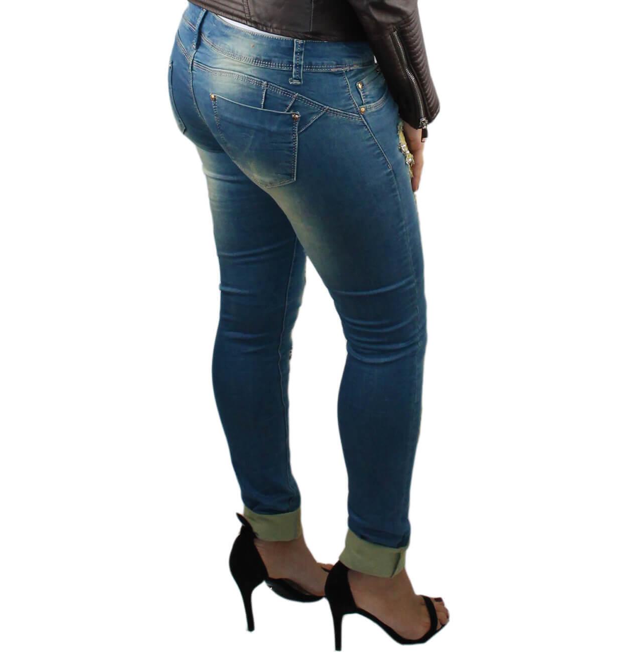 872e4c8c8c7c64 Jeans Donna vita bassa Slim fit strappati con perline e strass. Dettagli  Prodotto