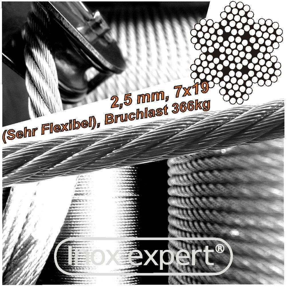 VA-Seil 2,5 mm 7X19 Edelstahl A4 Drahtseil sehr flexibel Stahlseil weich NIROSTA