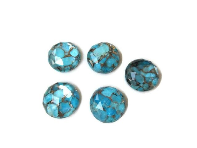 50 Pieces Round Shaped Blue Copper Turquoise Cabochons Faceted 12mm Each GDS1004