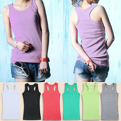 Womens Ladies Sleeveless Tank Tops Cami T Shirt bottoming Camisole Casual Vest