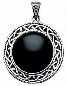 Keltischer-Onyx-Spiegel-Anhaenger-925er-Silber-Symbol-Schmuck-NEU