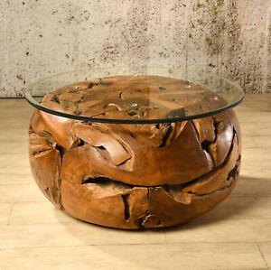 Details zu Wurzelholz Tisch Elements 80x80 Couchtisch Wohnzimmertisch Teakholz Massivholz