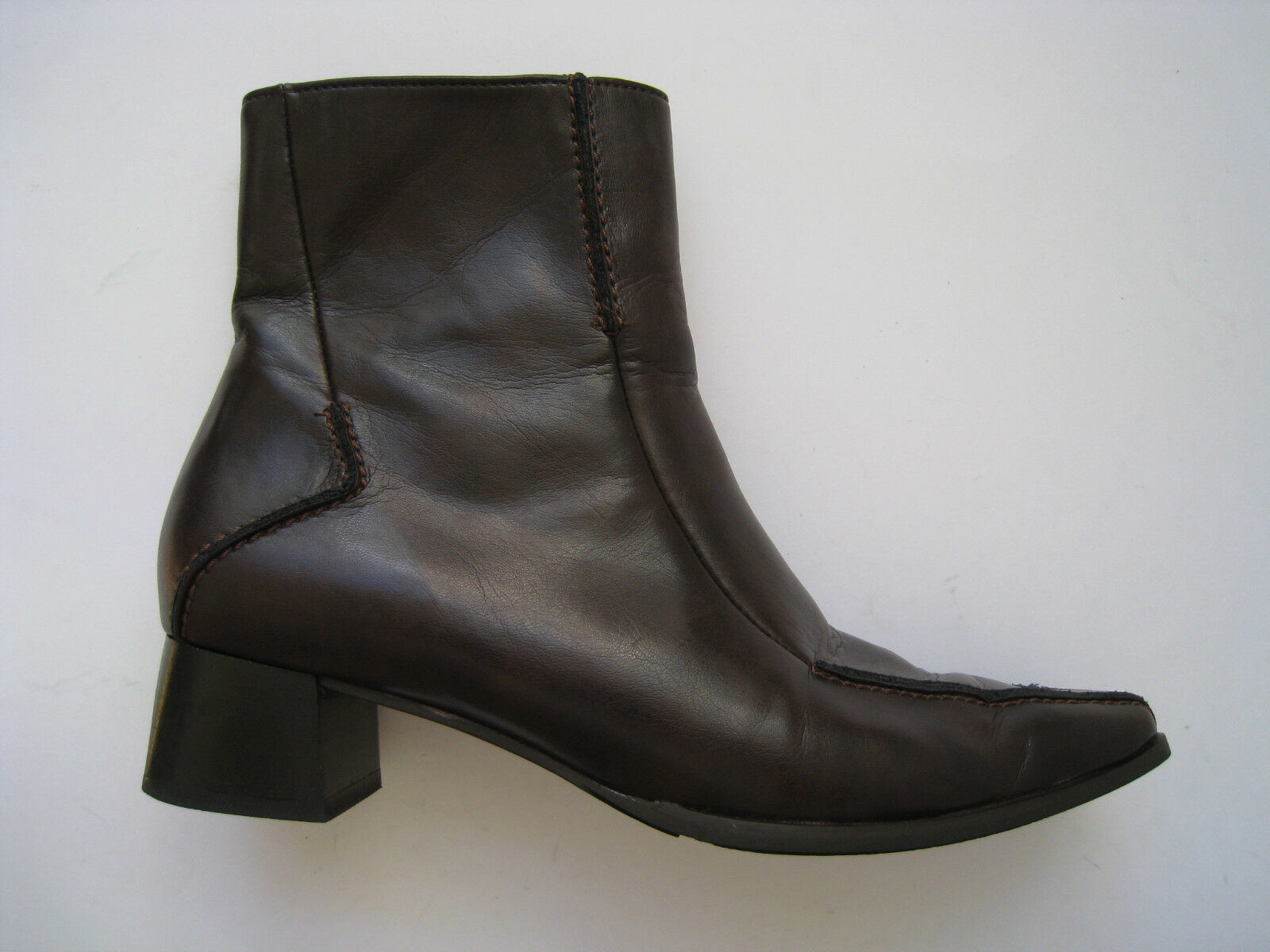 PAUL GREEN BROWN BROWN GREEN LEATHER ANKLE Stiefel WOMEN SIZE US 5 UK 2.5  RARE COOL c15547