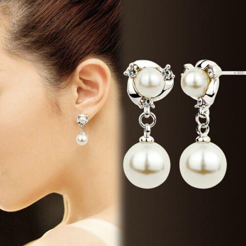 Ohrringe Ohrstecker 925 Sterlingsilber Süßwasser  Perlen Anhänger zirkonia NEU