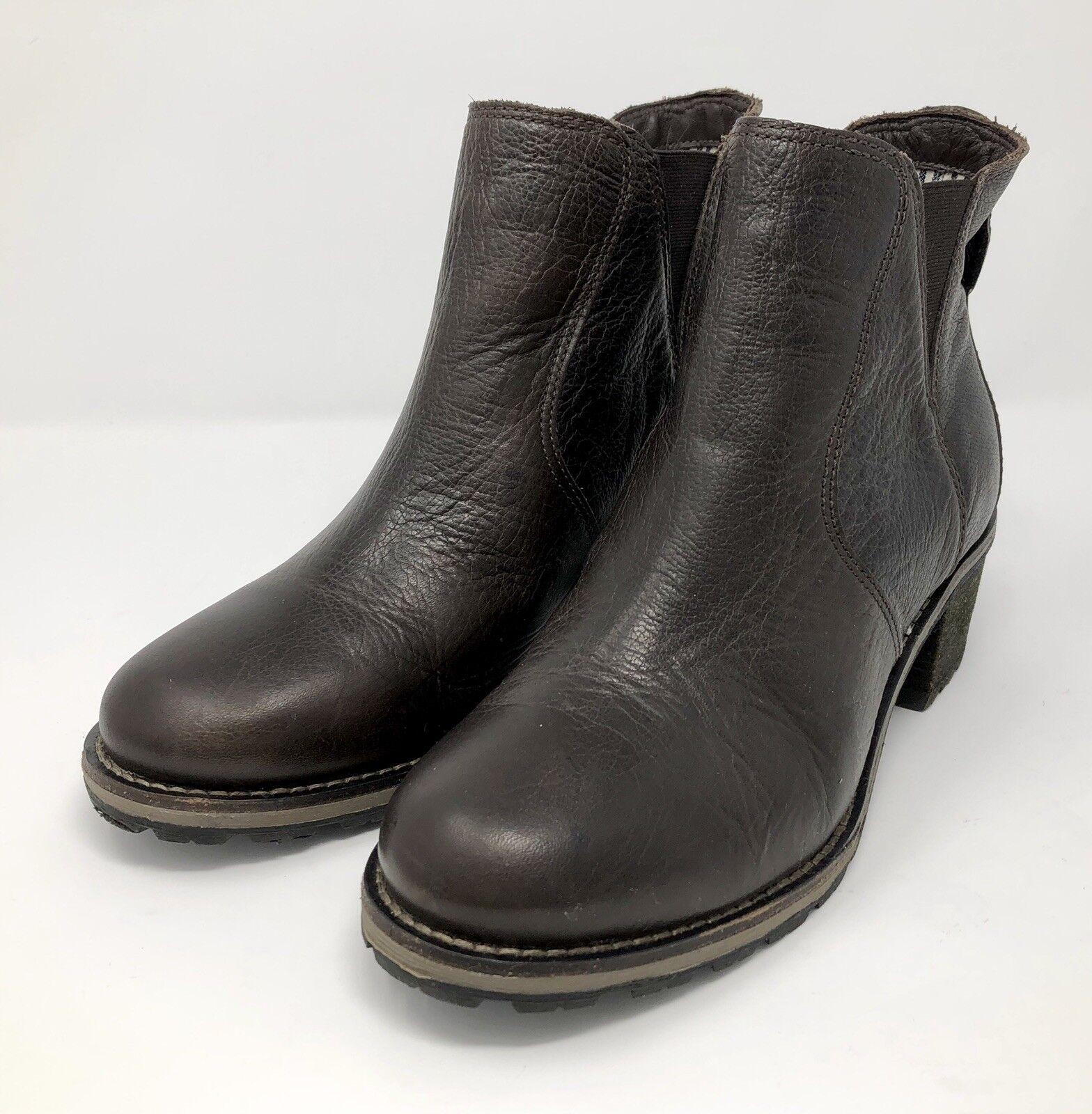 Ll Bean para mujer W (D) botas al Tobillo Marrón Cuero Chelsea Tirar de Deerfield