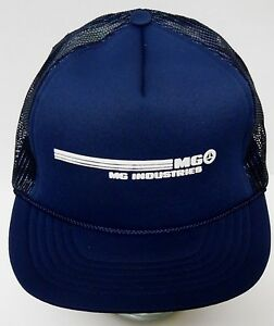 Image is loading MG-INDUSTRIES-Advertising-Logo-NAVY-BLUE-WHITE-Snapback- 954777f874f