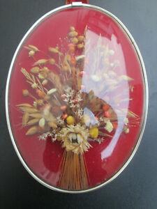 ancien Cadre ovale verre bombé fleurs séchées