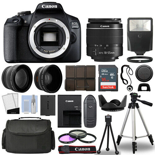 Canon EOS 2000D / Rebel T7 SLR Camera + 3 Lens Kit 18-55mm + 16GB + Flash & More