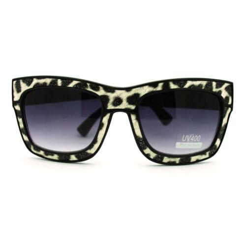 Designer Fashion Glitter Animal Print Thick Plastic Heavy Rim Sunglasses