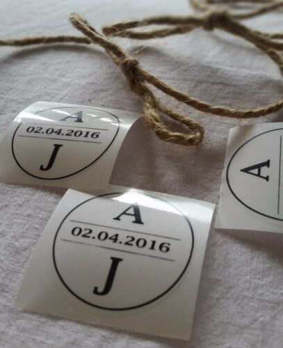 Wedding Stickers Personalised with initials clear circle modern design  x100
