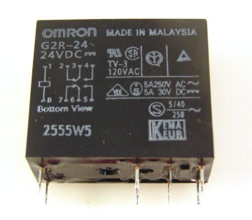 tira in su 12Vdc OMRON Relè G2R-24 24Vdc BOBINA DPDT 5 A 250VAC//30VDC OM0304