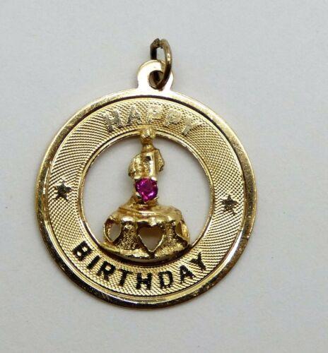 Vintage 14k Kitschy Circle Charm  Happy Birthday