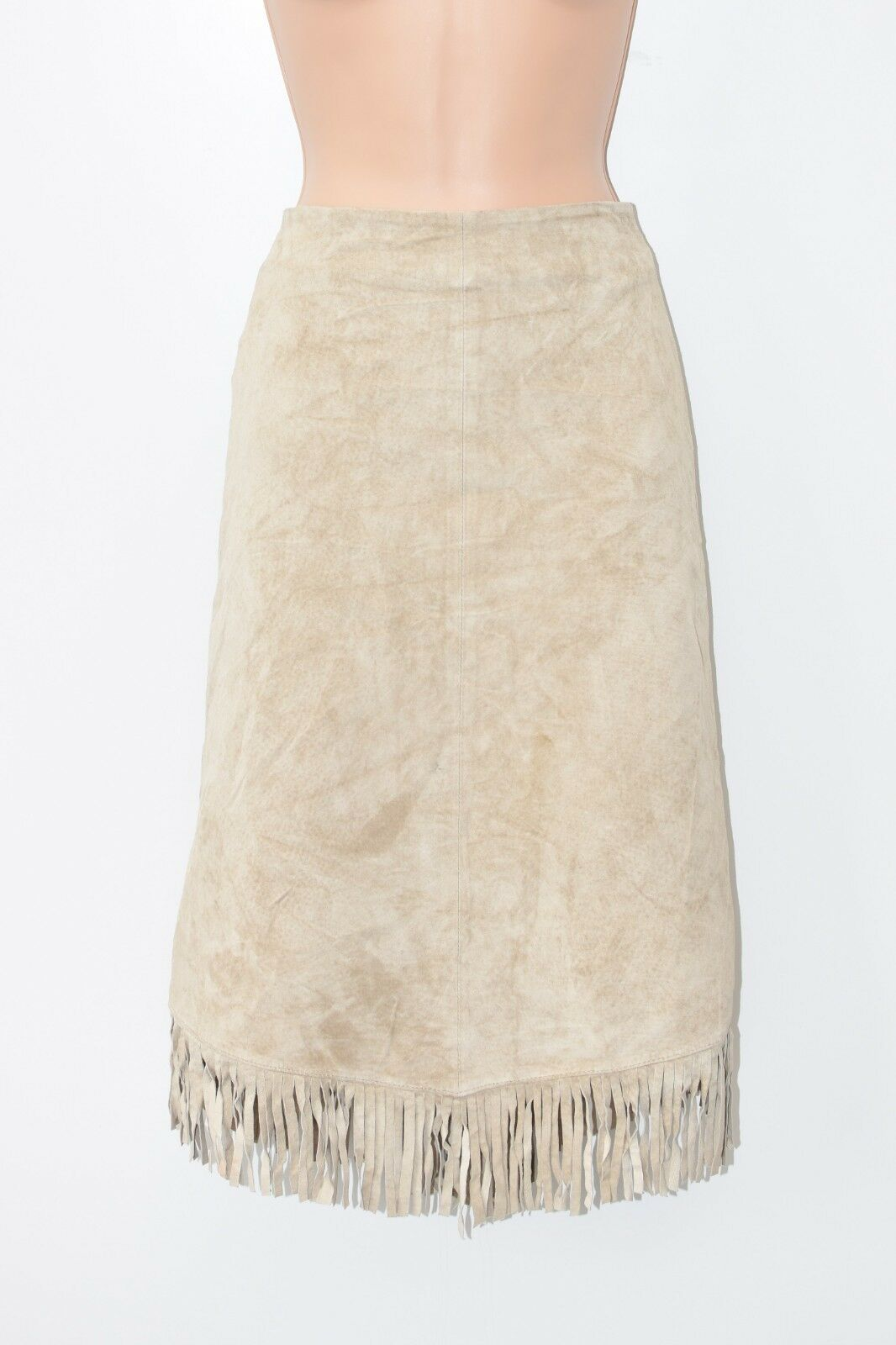 Brown Real Leather HPO Tassel Straight Pencil Below Knee Skirt Size UK12 L27