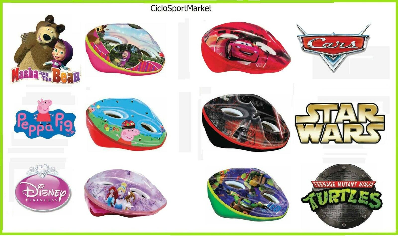 Bike helmet Masha and L'orso Cars Star Wars  Turtles Princesses Peppa Pig